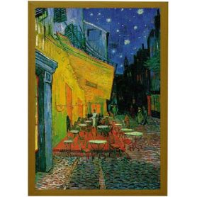 Van Gogh's Strassencafé - Kunstdruck mit gelbem Holzrahmen
