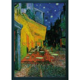 Van Gogh's Strassencafé - Kunstdruck mit blauem Holzrahmen