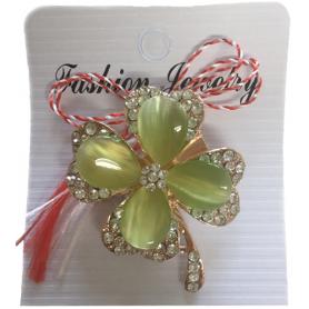 Martisor - Brosa - Trifoi cu pietre semipretioase - verde